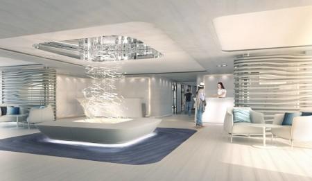 Intérieur du bateau de luxe le lyrial lors d'une croisière ponant